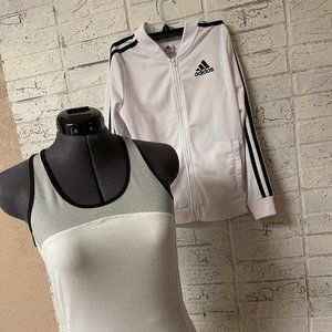 Adidas White Athletic Tank S and Jacket 12/14
